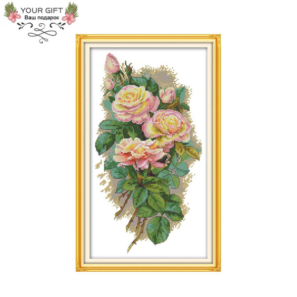 wholesale H758 14CT 11CT Counted and Stamped Home Decor Rose Needlework Needlepoint Embroidery DIY Cross Stitch kits