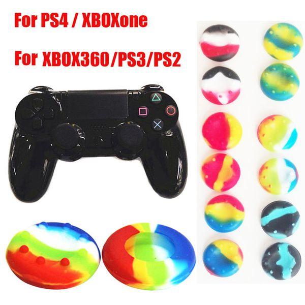 Camuflagem Camo listrado Multicolor Silicone Aperto Polegar Vara Apertos Joystick Cap Capa para Xbox One 360 PS4 PS3 Thumbstick Caso FRETE GRÁTIS