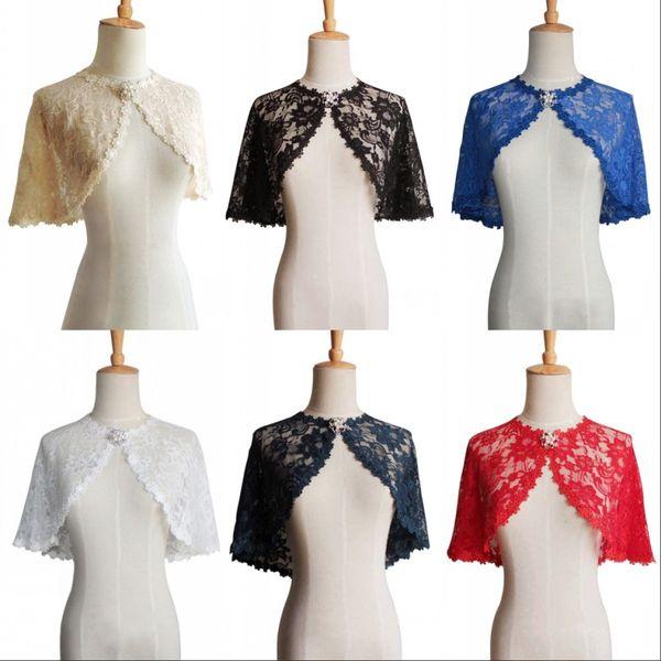 Stock 7 colores Marfil espalda Bolero mujer encaje chaqueta Cape Bridal Wraps boda accesorios noche fiesta de baile vestido formal Capes CPA1278