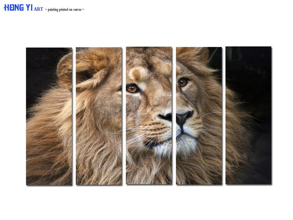 Large Contemporary Hot Sale Art Wall Animal Lion Head oil painting Picture Printed on canvas for Living Room Bedroom Home Decor Aset163