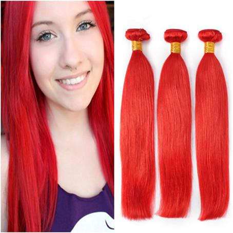 Virgin Brazilian Red Hair Weave Bundles 3Pcs Silky Straight Pure Red Color Virgin Remy Human Hair Weaves Extensions Double Wefts