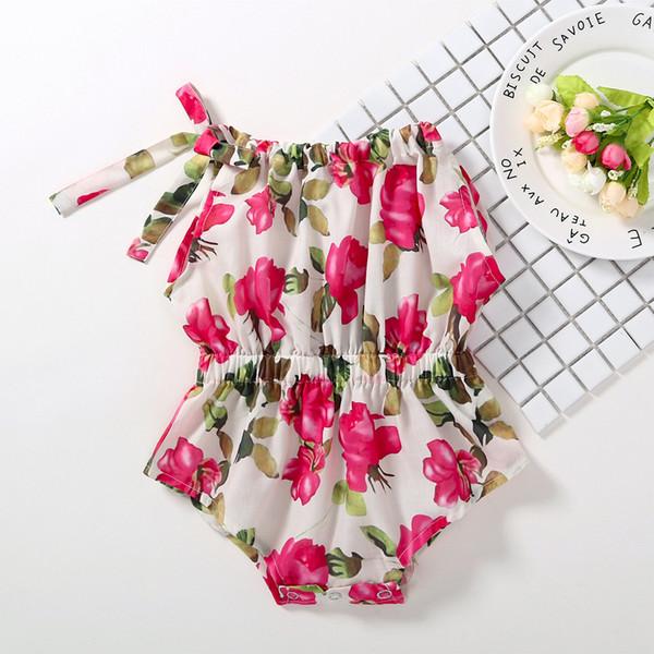 INS NEUES Säuglingsmädchen Einteiler ärmellos roter Blumendruck Spielanzugbaby Aufstiegskleidung Sommermädchen Spielanzug