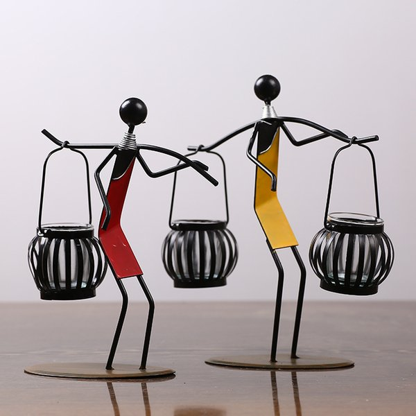 Arts Crafts Iron Art Candlestick Photo Props Minimalism Candleholder Decorate Hand Made Originality Metal Romantic Candle Holders 19dy jj