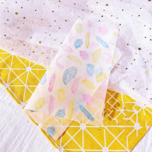 50Pcs/set new Colourful feathers Printed Sandwich Wrapping Paper Grease-proof Baking Wax Paper For Bakery Hamburger Soap Candy