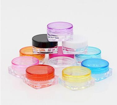 1000шт 3G квадратных крем банки прозрачный пластик макияж суб-розлива, пустой косметический контейнер, небольшой образец Маска канистра
