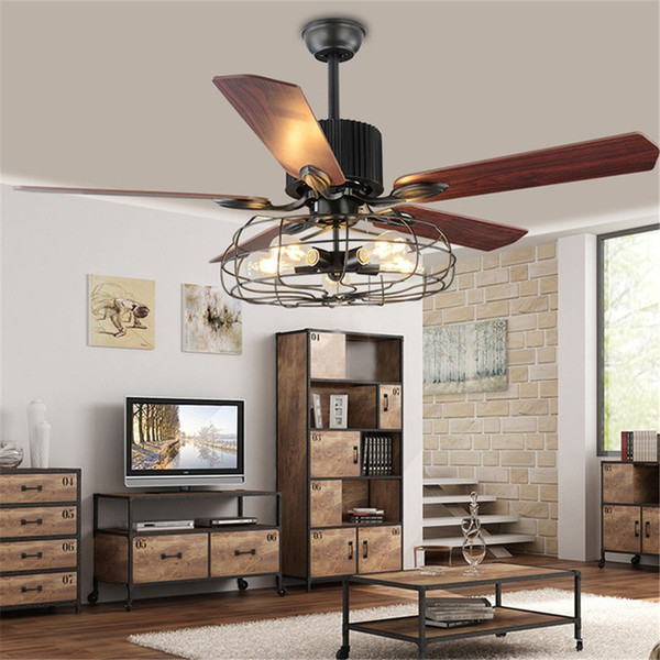 "top popular Industrial 52"" Wrought Iron Style Fan Semi Flush Ceiling Light Adjustable Antique Fans Chandelier Retro Pendant Light with Remote Control 2021"