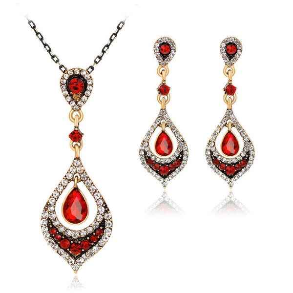 Vintage Swarovski Elements 18K Gold Platinum Plated Waterdrop Necklace Earring 2 in 1 Jewelry Sets Wedding Jewelry