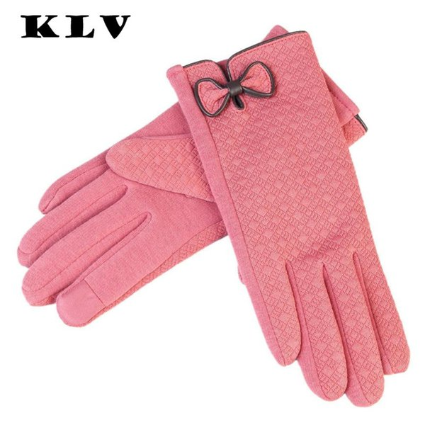 KLV Fashion New 2017 Black Blue Gray Pink Red Bow Womens Winter Fall Outdoor Warm driver's Gloves Women Keep Warm