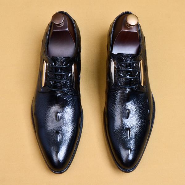 Men's dress shoes crocodile pattern handmade high quality business men's shoes popular wedding design classic brand