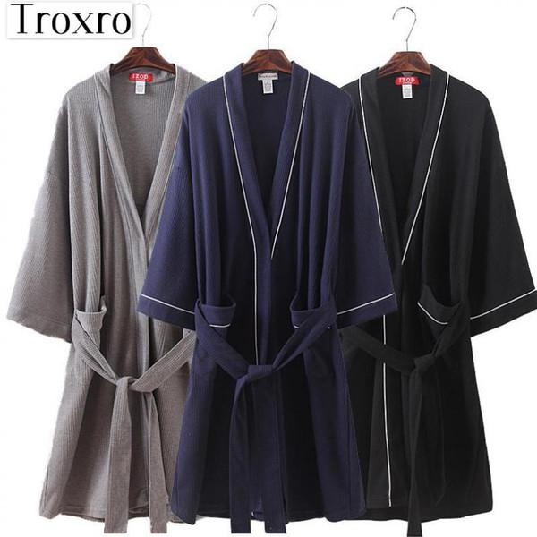 Bathrobe Men Long Sleeves Robe Regular Sleeve Bathrobes Man Japanese Yukata For Luxury Mens Nightdress Cotton Robe 2105