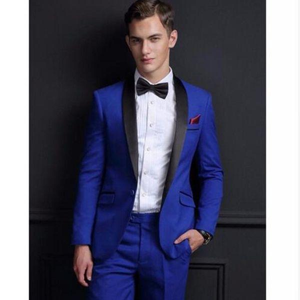 2018 Fashion Royal Blue Men Suit Shawl Collar One Button Men Suits Best Groomsmen Tuxedos Customized (Jacket+Pants)