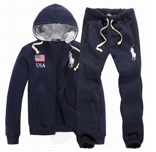 NEW 2018 Mens POLO Hoodies and Sweatshirts autumn winter Baseball Crown Mens Tracksuits Casual Classic Sportswear coats + pants Set