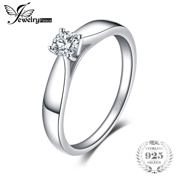 JewelryPalace 925 Sterling Silver 0.2ct Cubic Zirconia Solitaire Engagement Ring For Women New Simple Finger Ring Trendy Jewelry