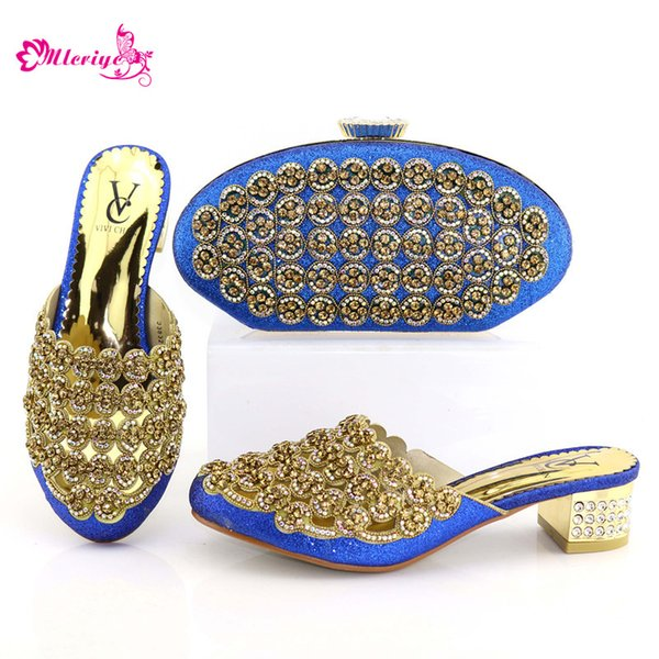 New blue Fashion Woman Shoes And Matching Bag Set Italy Style Woman High Heel Shoes And Bag Set For Party