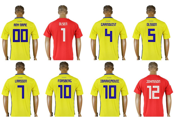 Sweden Team 2018 New Mens #1 Olsen 4 Andreas Granqvist 5 Olsson 9 Berg 10 Ibrahimovic Uniforms Shirts Sports Custom Soccer Jerseys Cheap
