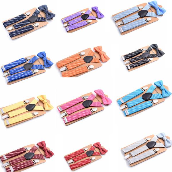 14styles Kids Tie Suit Tirantes de niños Juego de pajaritas Braces para bebés Elásticos Y-back Niños niñas Tirantes escolares Accesorios diseño de puntos FFA1195
