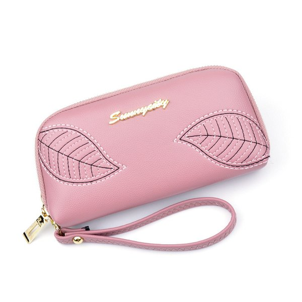 Woman Wallet New Pattern Hand Package Embroidered Leaf Long Fund Zipper Take Fashion Small Change Capacity Mobile leather wholesale wallets