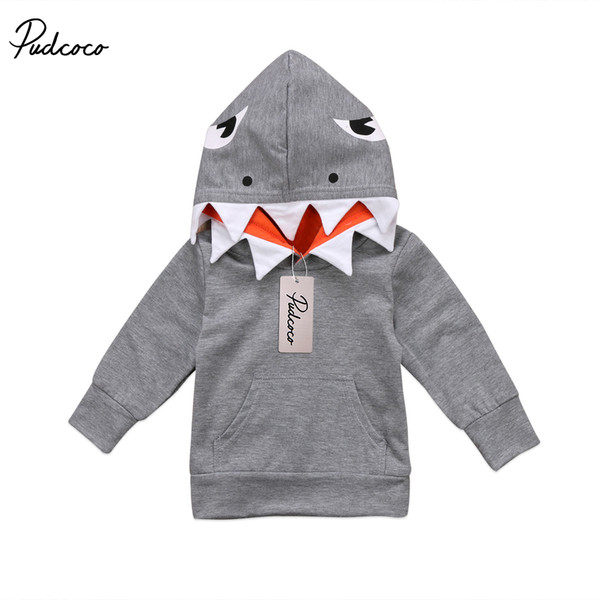 Casual Toddler Kids Boys Shark Hooded Tops Hoodie Pocket Jacket for boy Coat Outerwear