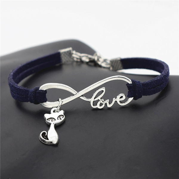 10 Color Multiple Layers Dark Navy Leather Charm Jewelry For Women Men Vintage Infinity Love Cat Pendant Bracelets & Bangle Femme Party Gift