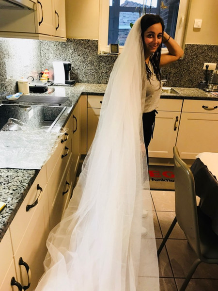 Popodion white 3 m long trailing 3 layer cathedral wedding veils bridal veil with comb wedding vail accesories women WAS10012