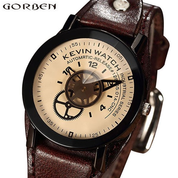 Vintage Unique Creative Unisex Watch Special Design Industrial Gear Dial Fashion Watches Men Women Big Hands Lovers Couple Watch