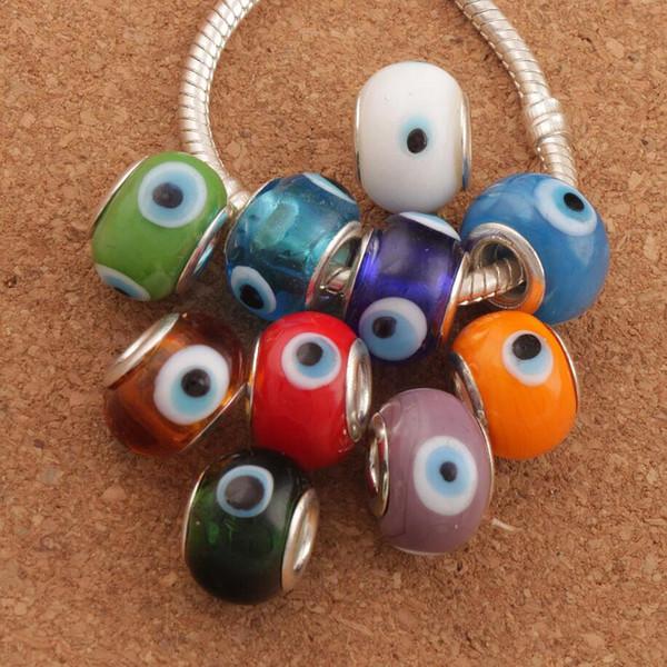 Evil Eye Murano Lampwork 14X9mm 10 Colori 60 pz / lotto Big Hole Perle di Vetro Misura Braccialetto di Fascino Gioielli FAI DA TE L1666