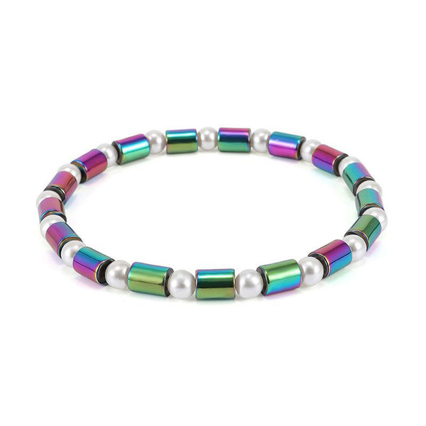 Women Magnet Cylindrical pearl Anklet Colorful Stone Magnetic Therapy Bracelet Anklet AB Color Black Gallstone Anklet Newest