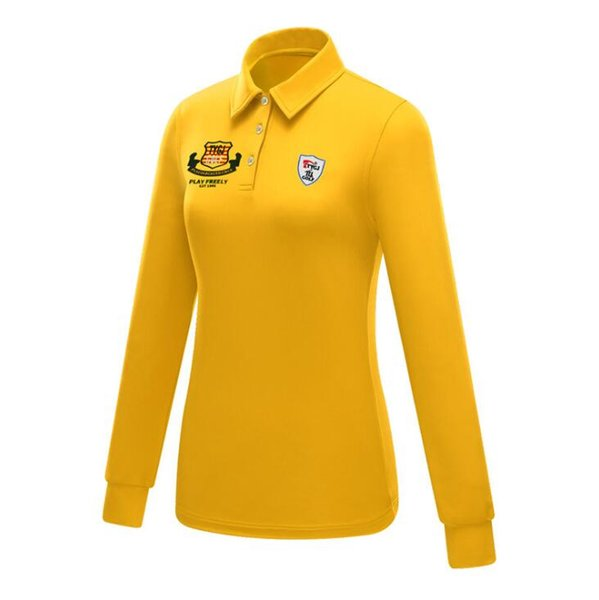 best selling Women Golf Polo T Shirt Autumn and Winter Collared Long Sleeves yellow Golf Shirts Top Quick Dry Outdoor Sport T Shirts