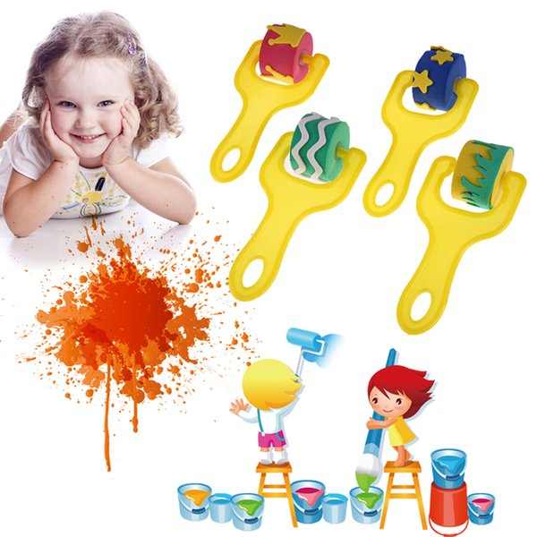 best selling 4Pcs Lot Fun Sponge Kids Painting Brushes Graffiti Paint Training Toy Plastic Handle Seal Sponge Drawing Brush Educational Toy