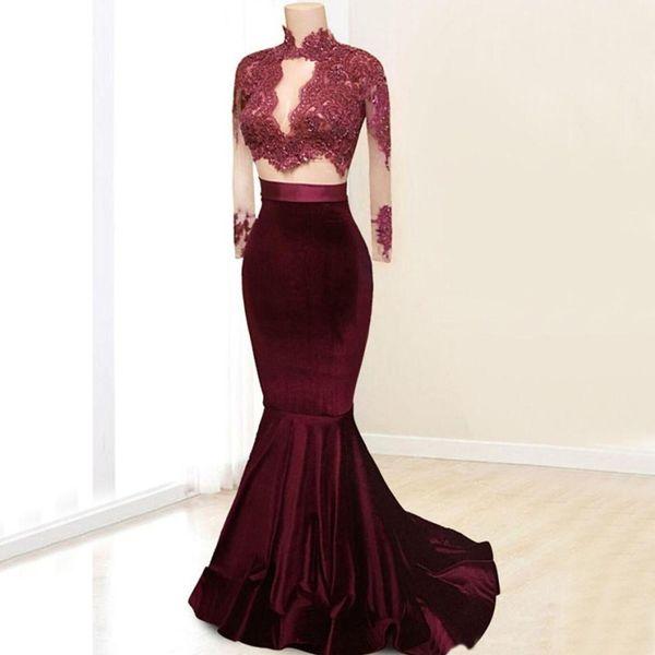 Langarm Meerjungfrau Abendkleid High Neck Perlen Spitze appliziert Top Velvet 2 Stück Abendkleider 2018 nach Maß Formelle Gelegenheit Kleid