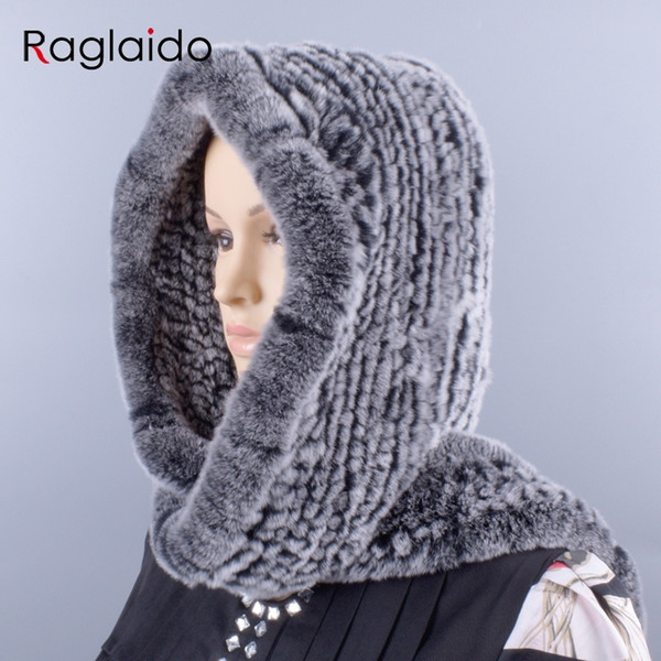 Raglaido knitted rabbit fur hood real rex scarf hat for women winter snow warm cap 55-59cm large-knitted hat LQ11278 D18110102