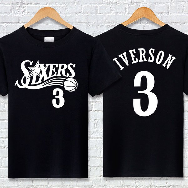 Basketball Team T Shirt Mens T Shirt Designer T Shirt Mens Top Iverson 76  Letter Print Casual Shirts Crew Neck Short Sleeve Active Summer Cool Tee ...