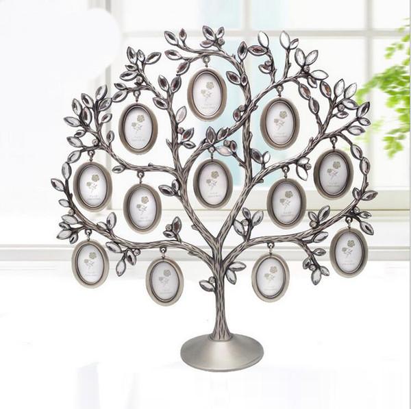 2015 árbol de la familia de lujo Rhinestone marco de fotos bebé regalo de cumpleaños marco de fotos DIY Regalos Creativos decoración para el hogar al por mayor