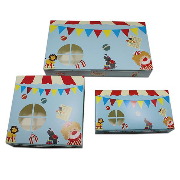 Синий цирк мультфильм дизайн крафт-бумаги яйцо пирог упаковка коробка картон торт еда десерт упаковка коробка с полым окном
