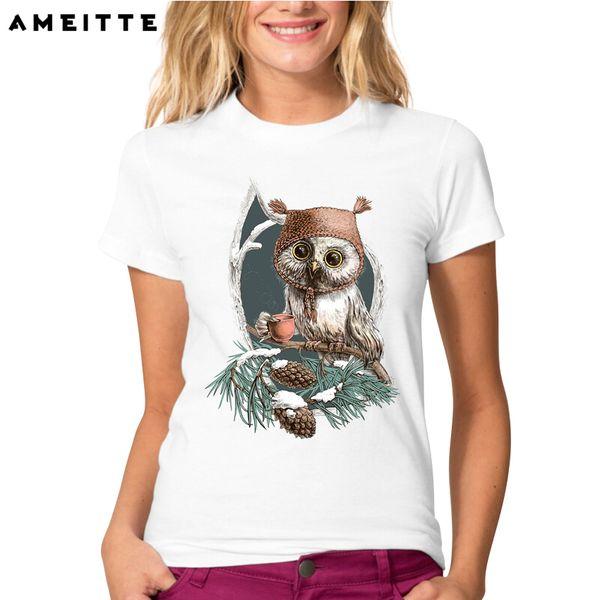 Women's Tee Funny Winter Owl Drink Coffee T-shirt Fashion Women / Ladies Harajuku Novelty Customied Animal Short Sleeve Tops Tee Lc2791