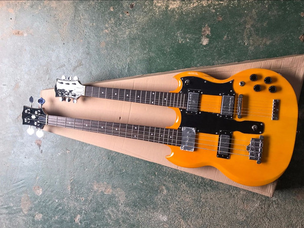 Factoroy custom double neck Yellow Body 4 strings Electric Bass and 6 strings electric guitar,can be customized as request