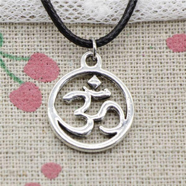 Creative Fashion Antique Silver Pendant circle yoga om 18*20mm Necklace Choker Charm Black Leather Cord Handmade Jewlery