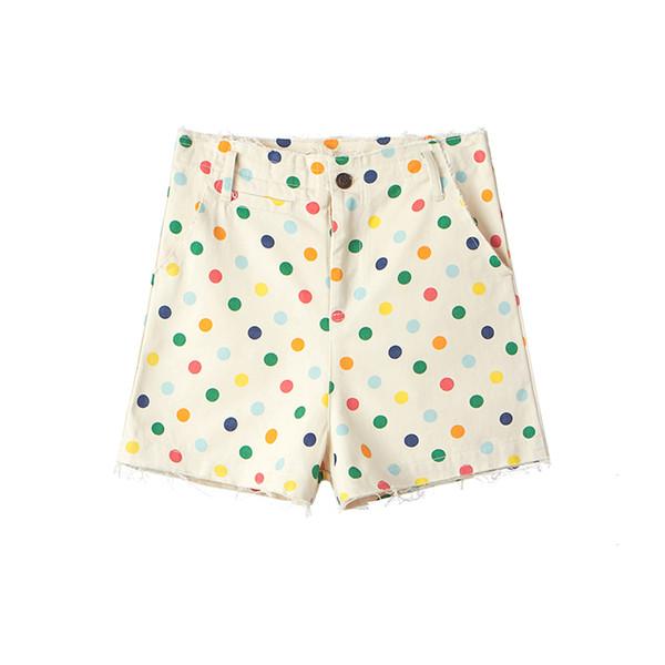18ss Golf Wang Rainbow Polka Dot Shorts Canvas Cargo Pants Trendy Men Streetwear Unisex Ripped Cargo Style Shorts HFTTDK001