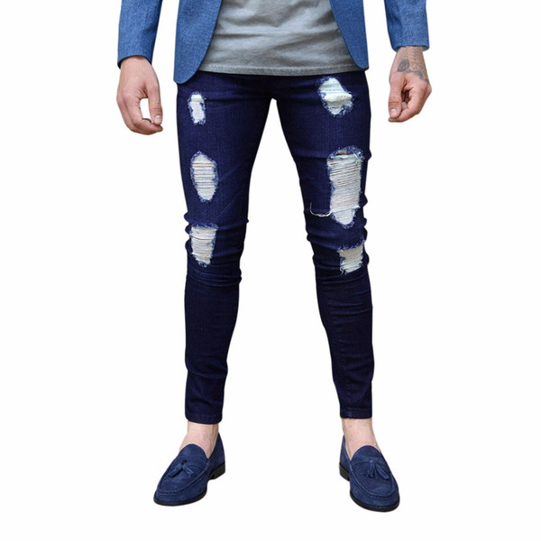Feitong New Mens Fashion Pants Skinny Denim Rip Repair Stylish Jeans Casual Cotton Party Long Denim Newest 2018 Solid Pants