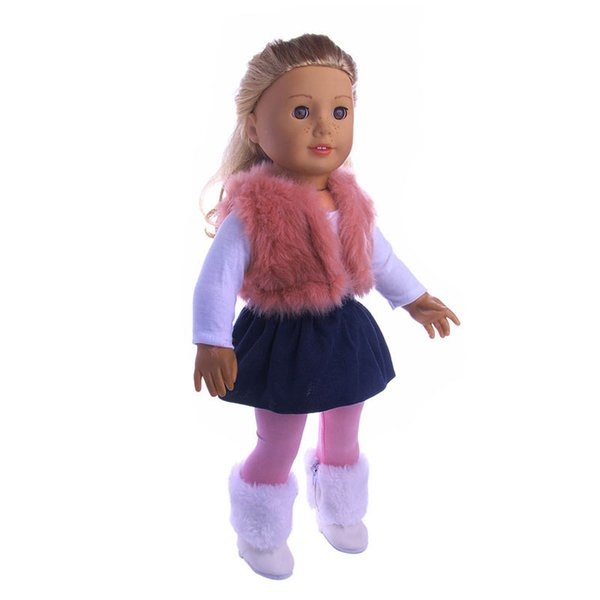 2589ddf2d83 4Pcs Set American Girl Doll Clothes Set Winter vest T-shirt Dress Legging  For 18 Inch Our Generation Doll Accessories Suit Set