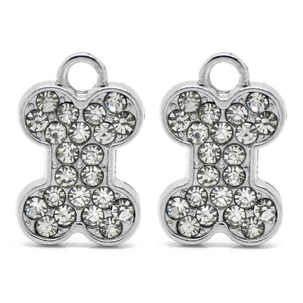 10 Dog Bone Charms Antiqued Silver 2 Sided Bones Dog Charms Pendants