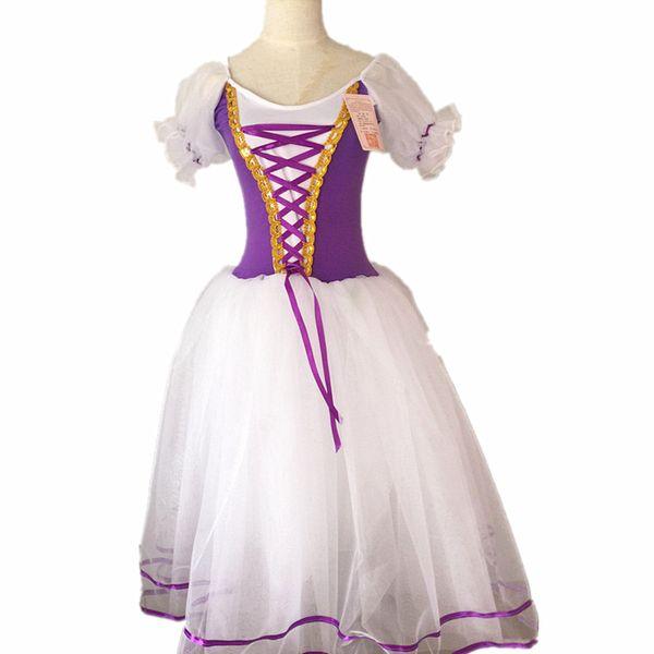 Yeni Romantik Tutu Giselle Bale Kostümleri Kız Çocuk Velet Uzun Tül Elbise Skate Balerin Elbise Puf Kollu Korosu