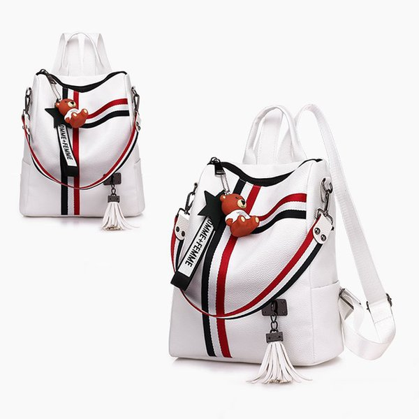 Borsa a tracolla doppia nera bianca Borsa a cerniera femminile nappe Zaini in pelle Borsa da viaggio per bambina