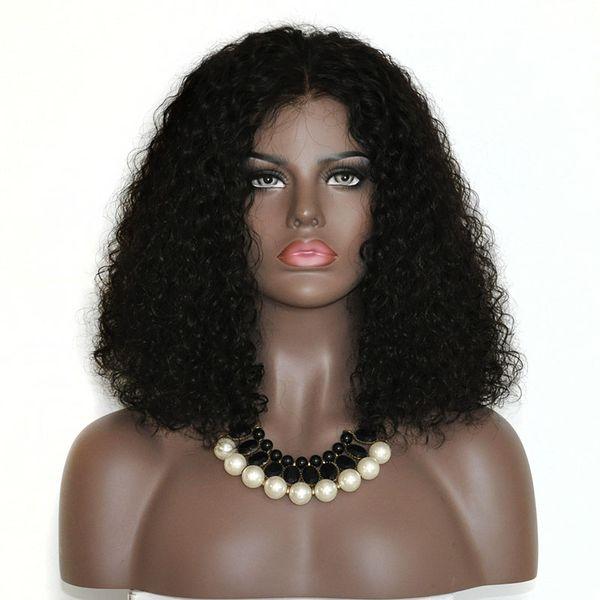 Wholesale 150% density natural color hair women wig Human Hair Short Wig Malaysian Curly BOB Lace Front Wig