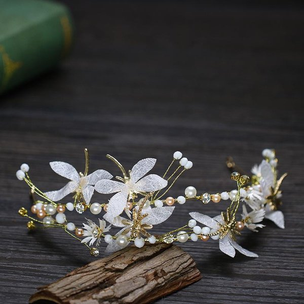 Bridal accessories flower hairband pearl studded dragonfly bridal accessories factory direct fairy goddess headband a generation of hair