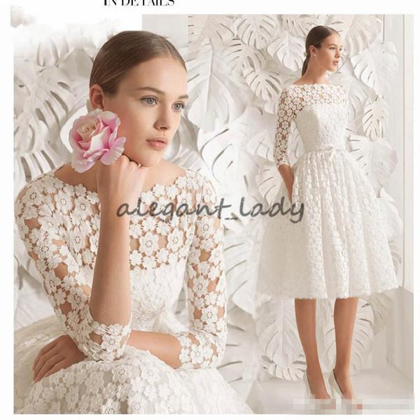 2018 Boat Neck Lace Short Wedding Dresses Knee Length Long Sleeve Simple A line Bride Dresses Elegant 3D floral lace Wedding Formal Dresses