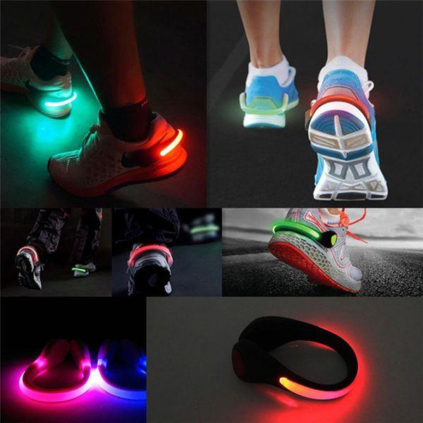 2 Unids LED Luminoso Clip de Zapato Luz de Seguridad Nocturna Advertencia Brillante Linterna LED para correr Deportes Ciclismo Bicicleta Accesorios para bicicletas