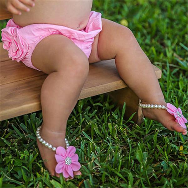 Новое прибытие дети цветок сандалии детские босиком сандалии горный хрусталь ног цветок щиколотке новорожденных девочек ног группа эластичный девушка обувь KFA31