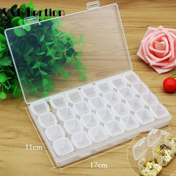 28 Slots Nail Art Storage Box Plastic Transparent Display Case Organizer Holder For Rhinestone Beads Ring Earrings Case QSY2602