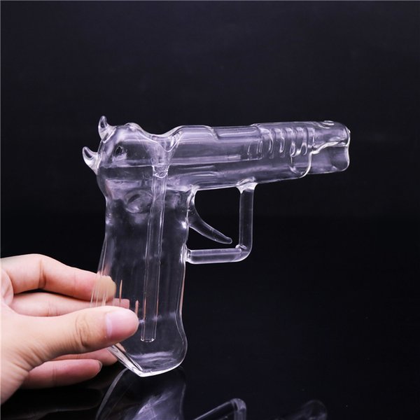 High Quality Gun Shaped Glass Bong Water Pipe Portable Tobacco Pipes For Dry Herb Smoking Water Bong Free Shipping